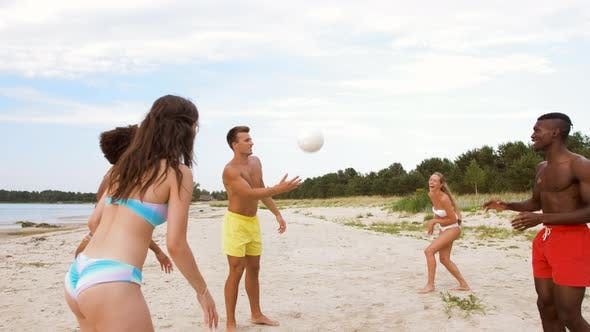 Thumbnail for Happy Friends Playing Ball on Summer Beach