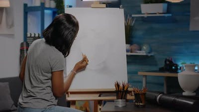 African American Woman with Artist Occupation Drawing