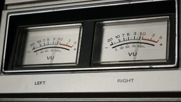 Thumbnail for Standard volume level indicator shallow DOF 4K 2160p 30fps UltraHD footage - Close-up of analog VU m