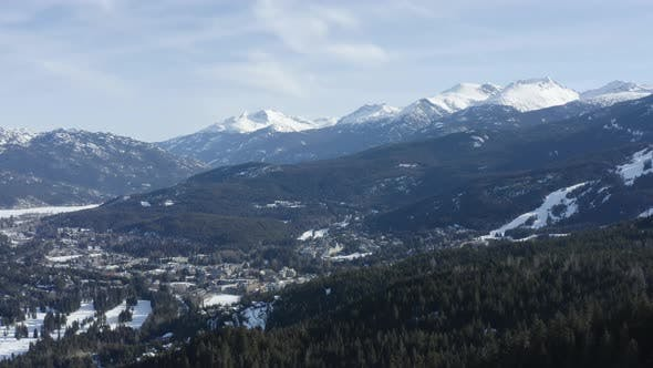Thumbnail for Whistler Blackcomb BC Canada Aerial Winter Landscape Sunny Day Forest Mountains