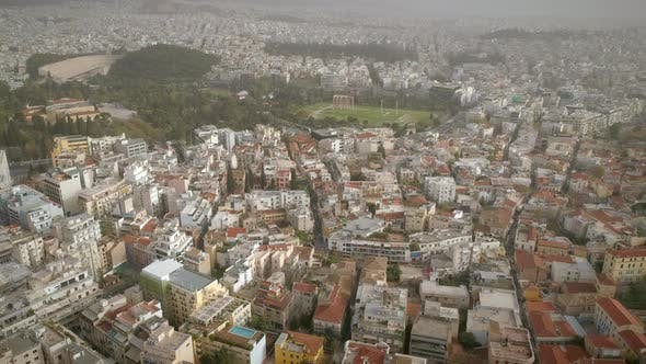 Thumbnail for Aerial view of buildings and famous structures in the Athens city.