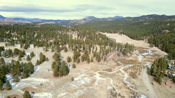 Thumbnail for Aerial view of Pikes National Forest in the Winter.