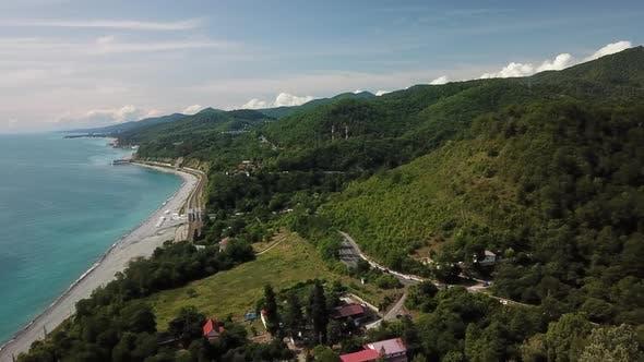 Thumbnail for Aerial  Video. Black Sea Coastline Road Near Sochi. Scenic Coastal Roads in South Russia.