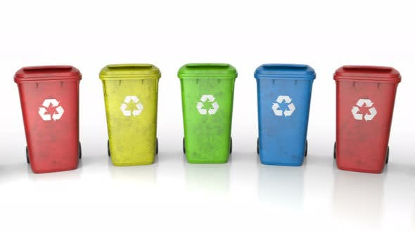 Thumbnail for Multi-colored Plastic Waste Bins Stacked in Circle Around Camera