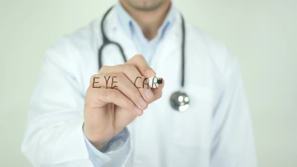 Eye Care, Doctor Writing on Transparent Screen