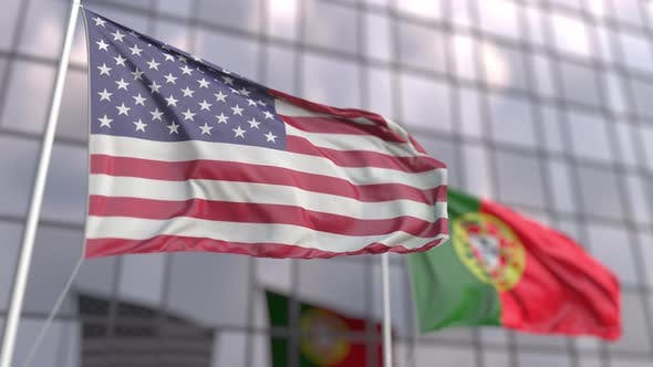 Waving Flags of the United States and Portugal