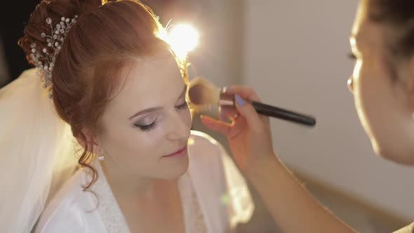Thumbnail for Wedding Makeup Artist Making a Make Up for Bride in Veil. Beautiful Sexy Model