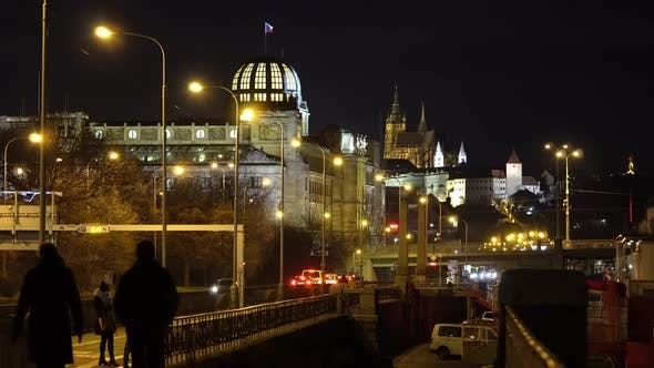 Historical Buildings in a City at Night