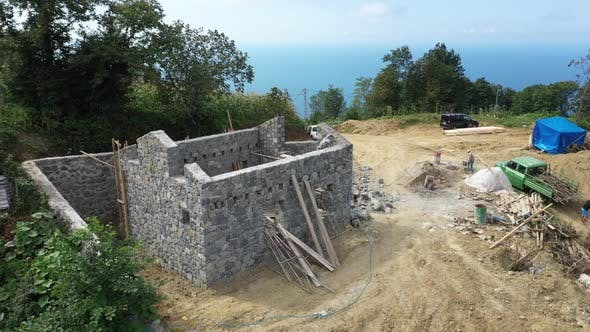 Thumbnail for Trabzon City Village House Construction Aerial View