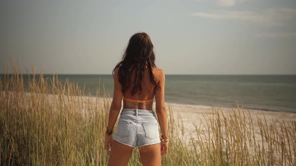 Freedom Woman During Beach Summer Vacation