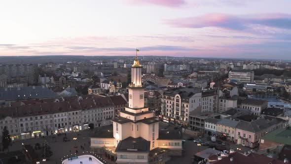 Thumbnail for Aerial Sunset View of the Center of Ivano Frankivsk City in the Evening, Ukraine, Old Historical