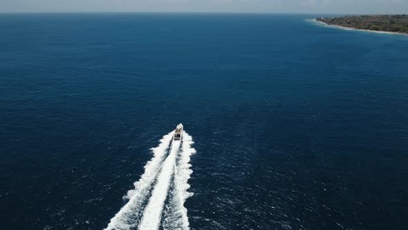 Thumbnail for Motorboat on the Sea, Aerial View. Bali, Indonesia