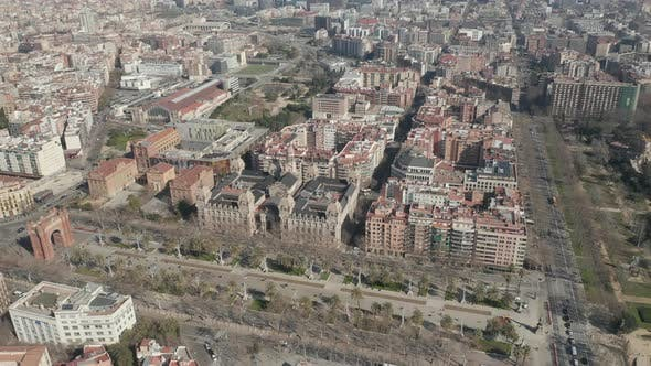Thumbnail for AERIAL: Wide Shot Flight Over Barcelona on Bright Sunny Day
