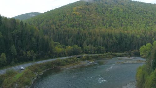Over River in Siberian Taiga