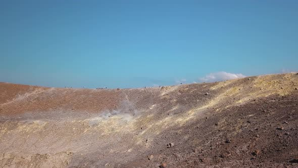 Thumbnail for Aerial View on Hot Volcanic Gas Exiting Through Fumaroles on Grand or Fossa Crater of Vulcano Island