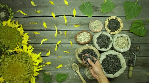 Seeds and sunflowers on an old wooden table. Top view.
