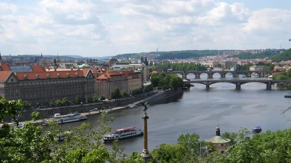 Vltava River seen from Letna Park in Prague