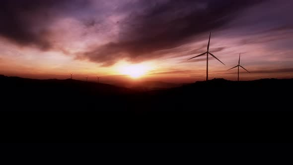 Thumbnail for Beautiful Silhouette of Windmills