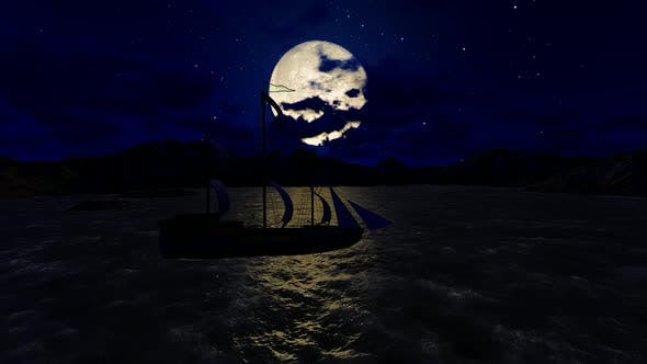Thumbnail for Panorama of the full moon at night