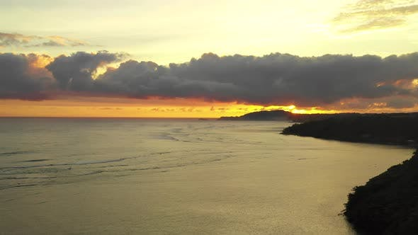 Thumbnail for Hawaii Amazing Tropical Aerial Sunrise Looking Towards Sun Coastline Princeville Kauai Paradise View