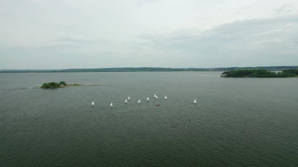 Yachts and Sailboats on the Minsk Sea or the Zaslavsky Reservoir Near Minsk