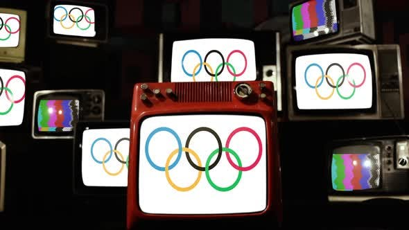 Flag of Olympic Games and Retro TVs.
