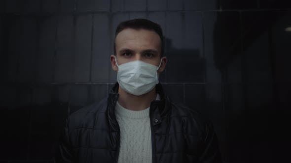 Thumbnail for Masked Man in the Street During Epidemic, Portrait During Quarantine