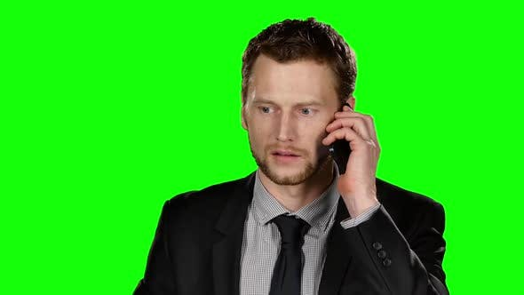 Thumbnail for Businessman Talking on the Phone. Green Screen
