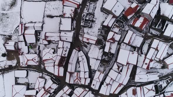 Roof Tops In Winter Snow Storm