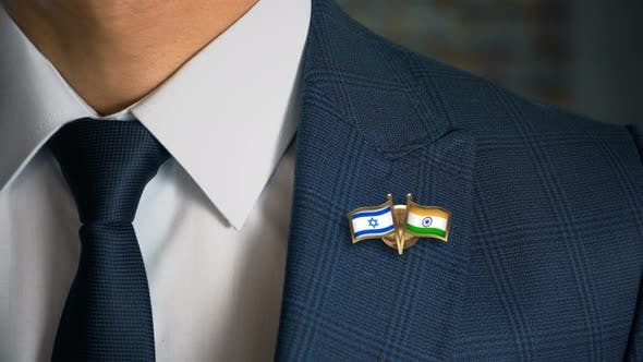 Thumbnail for Businessman Friend Flags Pin Israel India