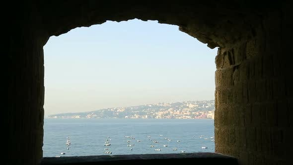 View on Mediterranean Sea From Egg Castle in Naples, Sightseeing, Seascape