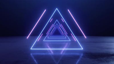 VJ Abstract Neon Triangle Tunnel