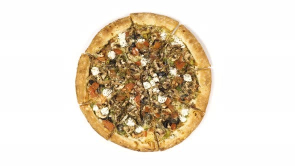Thumbnail for Rotating Pizza with Smoked Sausage and Olives on a White Background. Top View Center Orientation