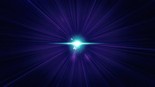 Abstract flight backwards through space among shining stars, seamless loop