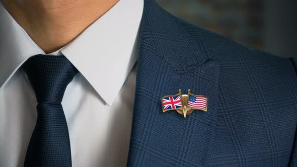 Thumbnail for Businessman Friend Flags Pin United Kingdom United States Of America