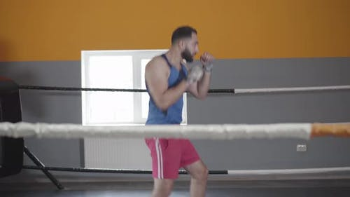 Workout of Middle Eastern Boxer Without Opponent