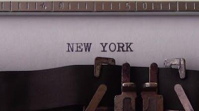 NEW YORK - printed on an old typewriter, close up.