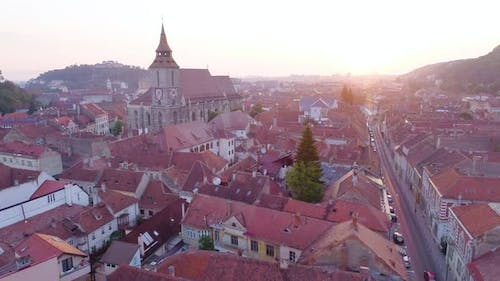 Aerial view at old center of the city of Brasov, Transylvania, Romania