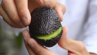 Avocado Vegan Proposal. Man Proposing With Wedding Ring In Avocado