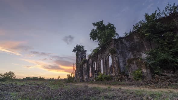 Timelapse sunrise of outer exterior of Church