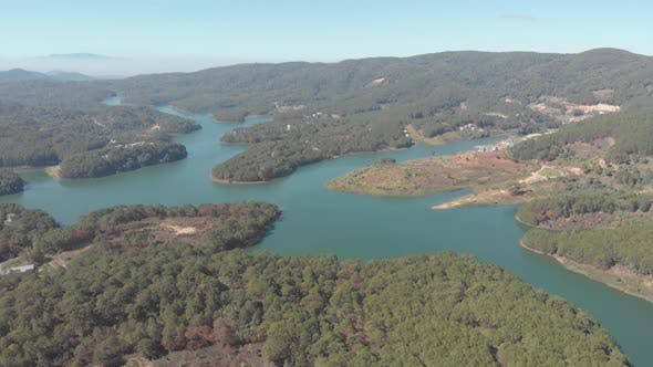 Unique aerial view of awesome Tuyen Lam Lake Da Lat plateau Vietnam forest hill highlands