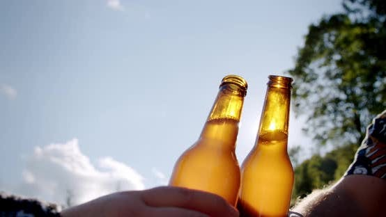 Thumbnail for Celebration Beer Cheers Concept, Hands Holding Up Bottles of Beer of People Group in Outdoor Party