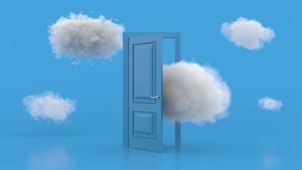 White clouds going through, flying out, open blue door