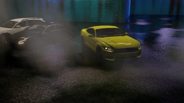 Thumbnail for Luxury Sports Car Drifting at Night Parking Garage