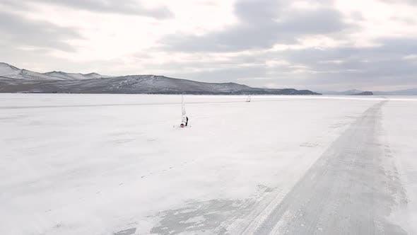 Thumbnail for Iceboat on the frozen Baikal lake