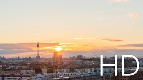 Day to night transitation of Berlin skyline, sunset timelapse