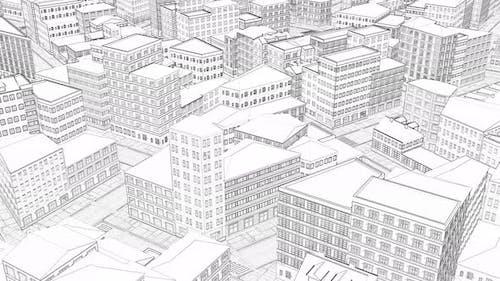 3d Drawing City Top View Line Art Blueprint Sketch Town