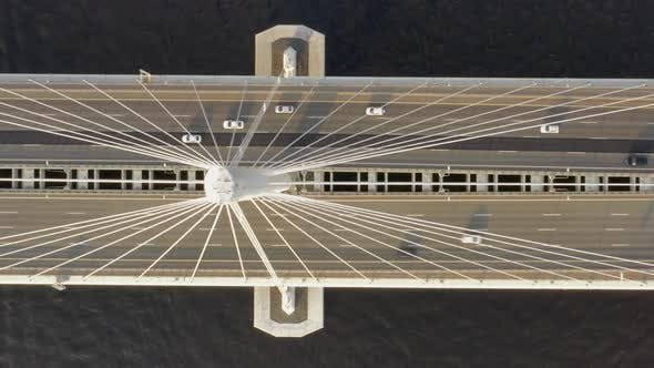Thumbnail for Aerial Top View of Cable-stayed Bridge with Cars