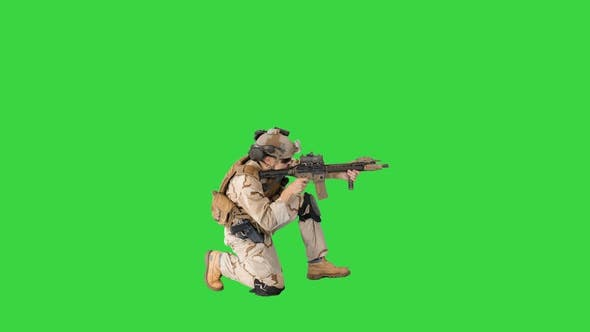 Thumbnail for Soldier Sits Down for Aiming and Shooting with Rifle on a Green Screen, Chroma Key