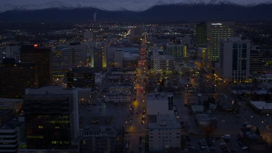 Thumbnail for Helicopter aerial of Los Angeles freeway, nighttime